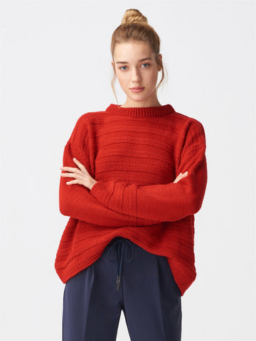 Line Pattern Red Sweater