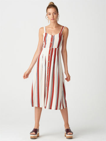 Striped Brick Linen Dress