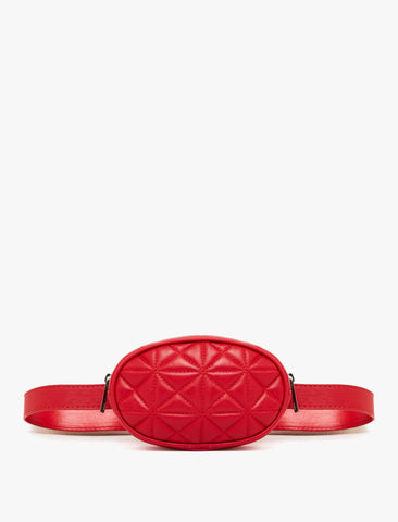 Zipper Detailed Red Belt Bag