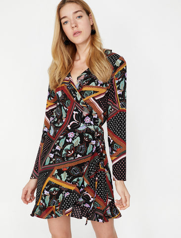 Bordeaux Patterned Dress