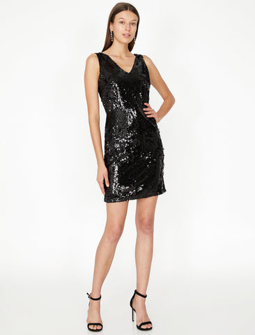 Black Sequin Detailed Dress