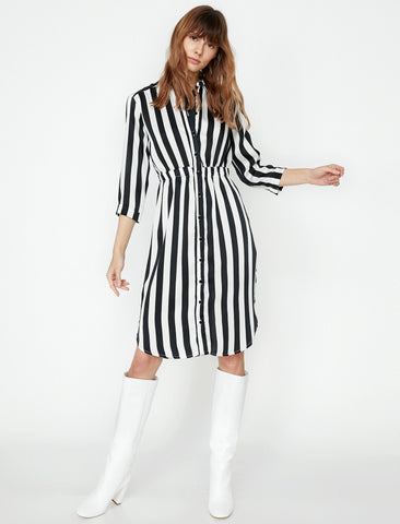 Black - White Striped Women Striped Dress