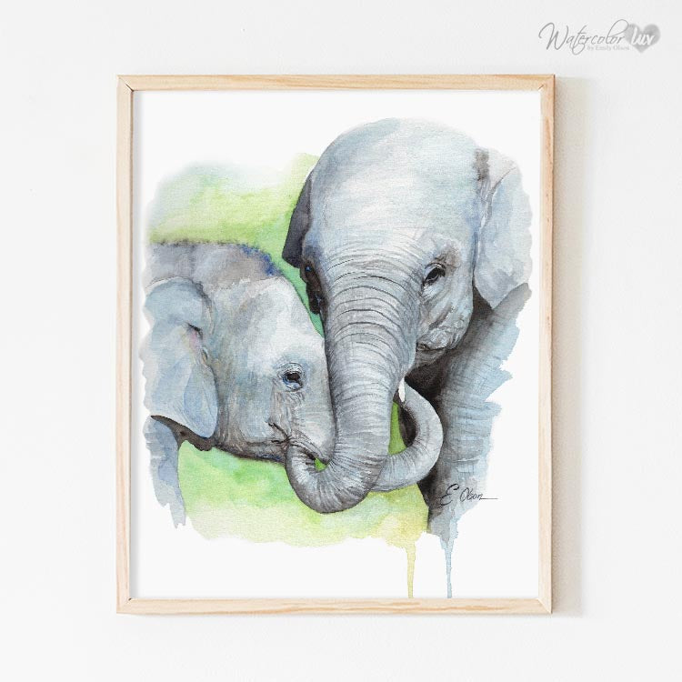 Mom and Baby Elephant No.2 Digital Print