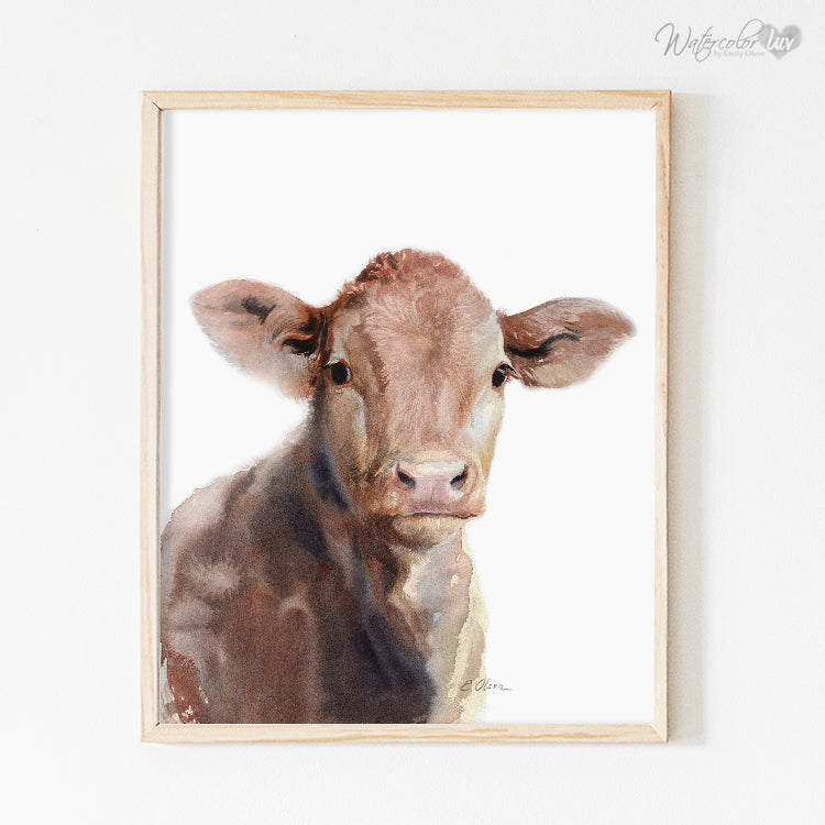 Brown Cow Calf Digital Print