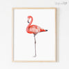 Pink Flamingo White Background Digital Print