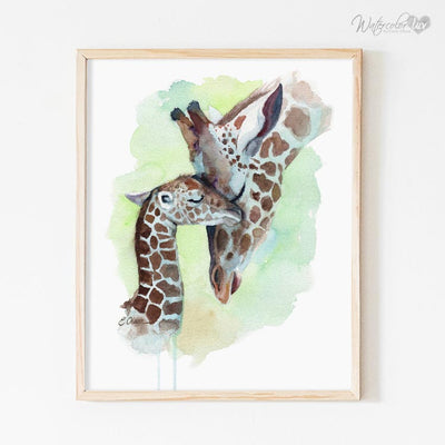 Mom and Baby Giraffe Digital Print