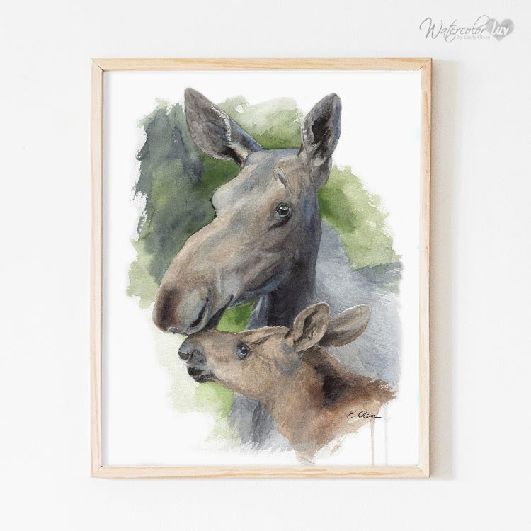 Mother and Baby Moose Digital Print
