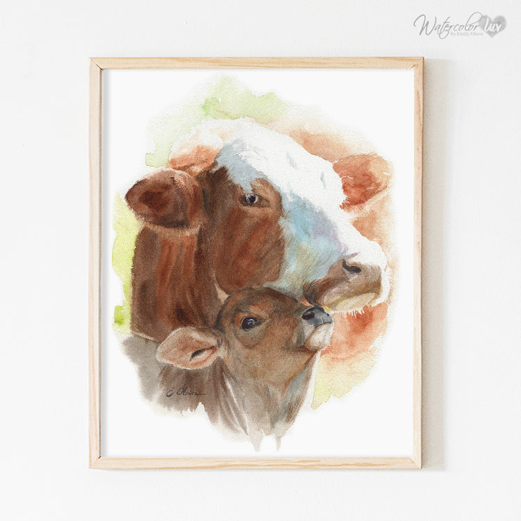 Mother and Baby Cow Digital Print