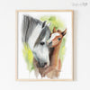 Mother and Baby Foal Horse Shipped Print