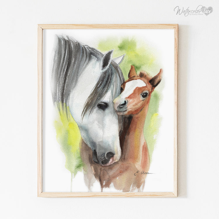 Mother and Baby Foal Horse Digital Print
