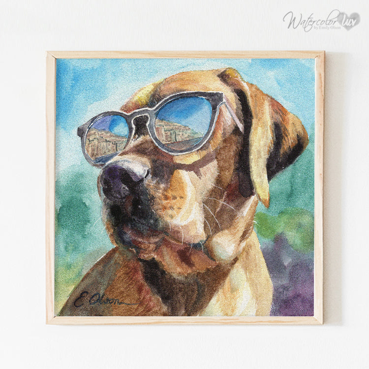 Fox Red Lab in Sunglasses Digital Print