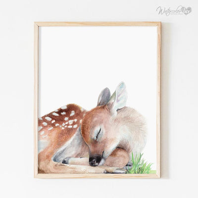 Sleeping Baby Deer Fawn Digital Print
