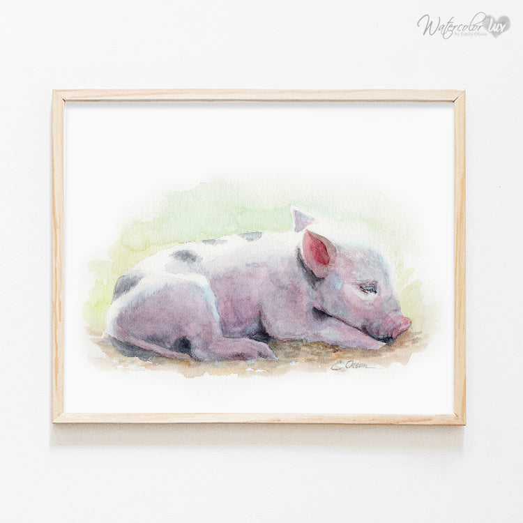 Sleeping Piglet Digital Print