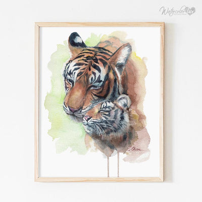 Mom and Baby Tiger Digital Print