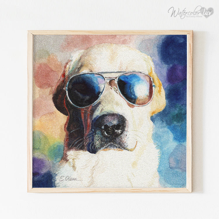 Yellow Lab in Sunglasses Digital Print