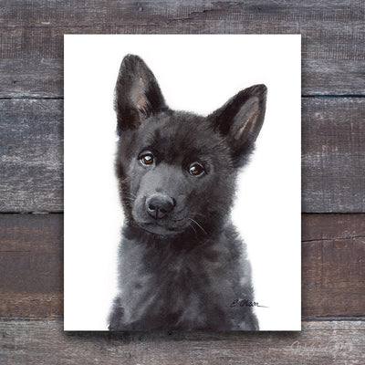 Black German Shepherd Puppy Shipped Print