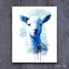 Blue Watercolor Farm Lamb Shipped Print