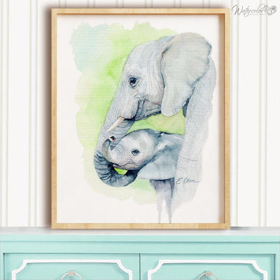 Mom and Baby Elephant Shipped Print