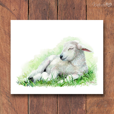Sleeping Lamb Digital Print