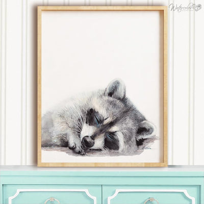 Sleeping Raccoon Digital Print