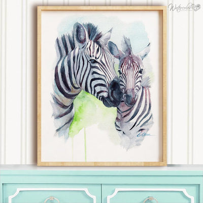 Mom and Baby Zebra Digital Print