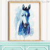 Blue Watercolor Farm Horse Digital Print