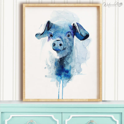 Blue Watercolor Farm Pig Digital Print