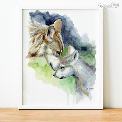 Mother and Baby Wolf Digital Print