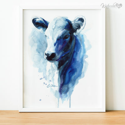 Blue Watercolor Farm Cow Digital Print
