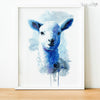 Blue Watercolor Farm Lamb Digital Print