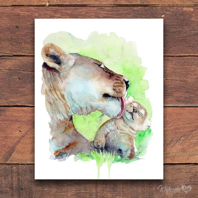 Mom and Baby Lion Digital Print
