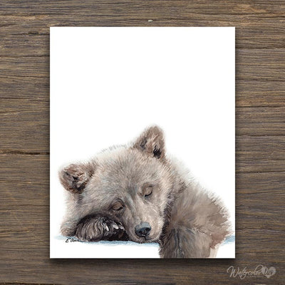 Sleeping Baby Bear Cub Digital Print