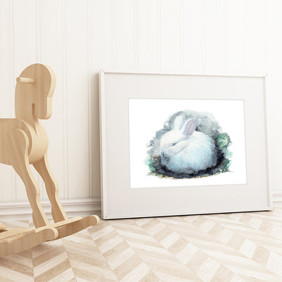 Sleeping White Bunny Digital Print
