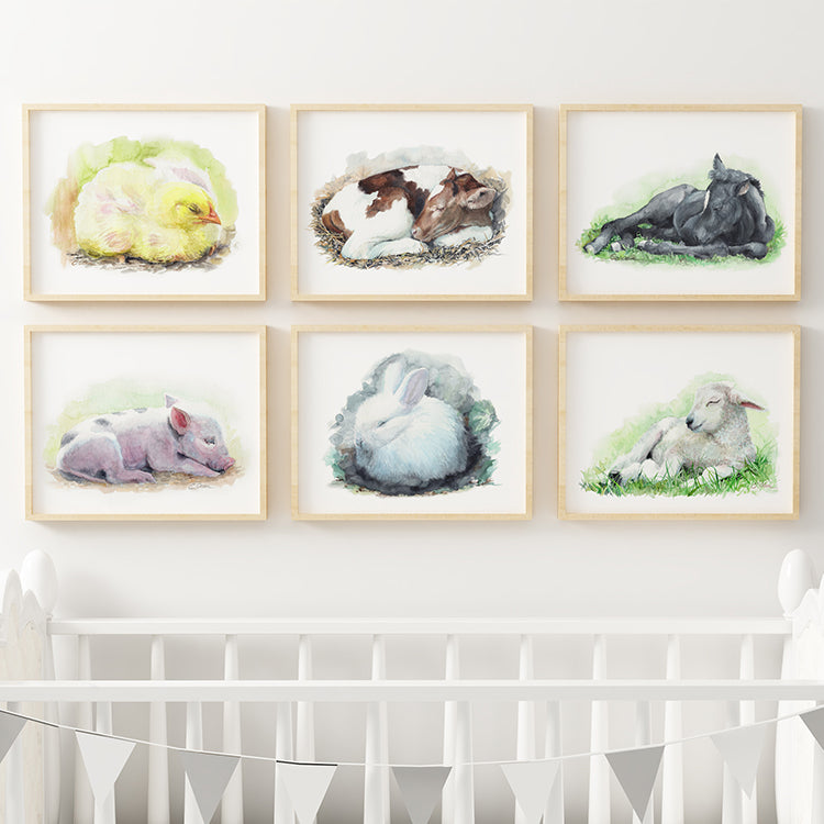 Sleeping Baby Farm Animals | Set of 6 Digital Prints