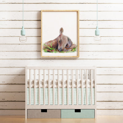 Sleeping Baby Moose Calf Digital Print