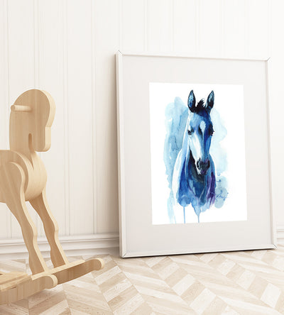 Blue Watercolor Farm Horse Shipped Print