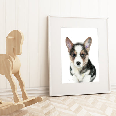 Black Corgi Puppy Shipped Print
