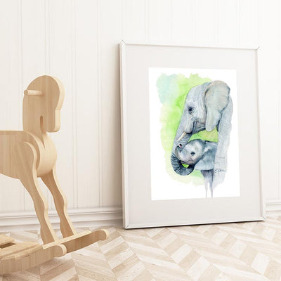 Mom and Baby Elephant Digital Print