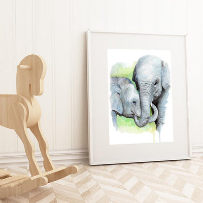Mom and Baby Elephant No.2 Shipped Print