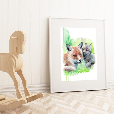 Mother and Baby Fox Digital Print