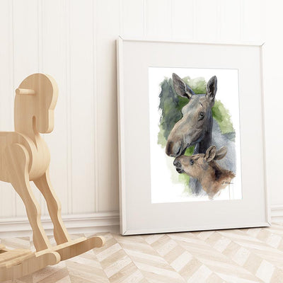 Mother and Baby Moose Shipped Print