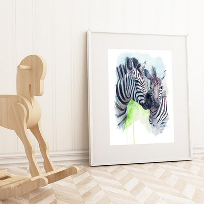 Mom and Baby Zebra Shipped Print