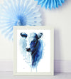 Blue Watercolor Farm Cow Shipped Print