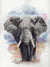African Elephant Original Watercolor Painting