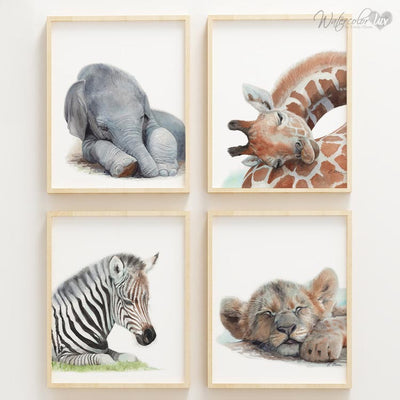 Sleeping Baby Giraffe Digital Print