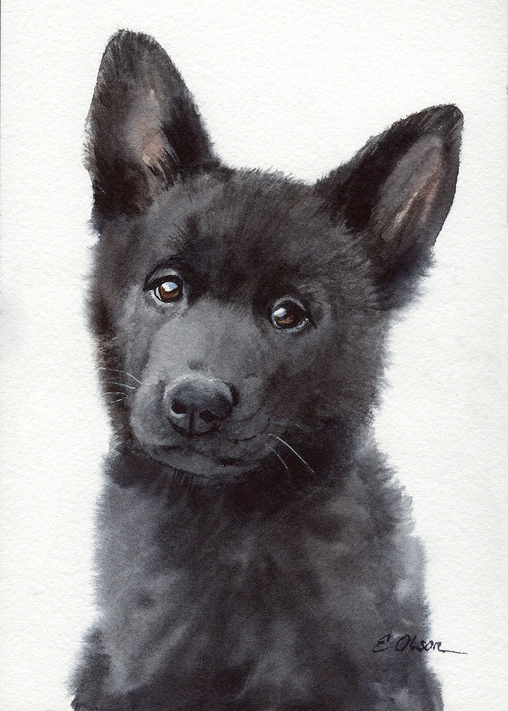 Black German Shepherd Puppy Original Watercolor Painting