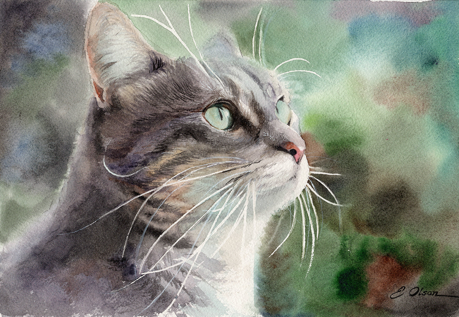 Portrait of a Cat Original Watercolor Painting