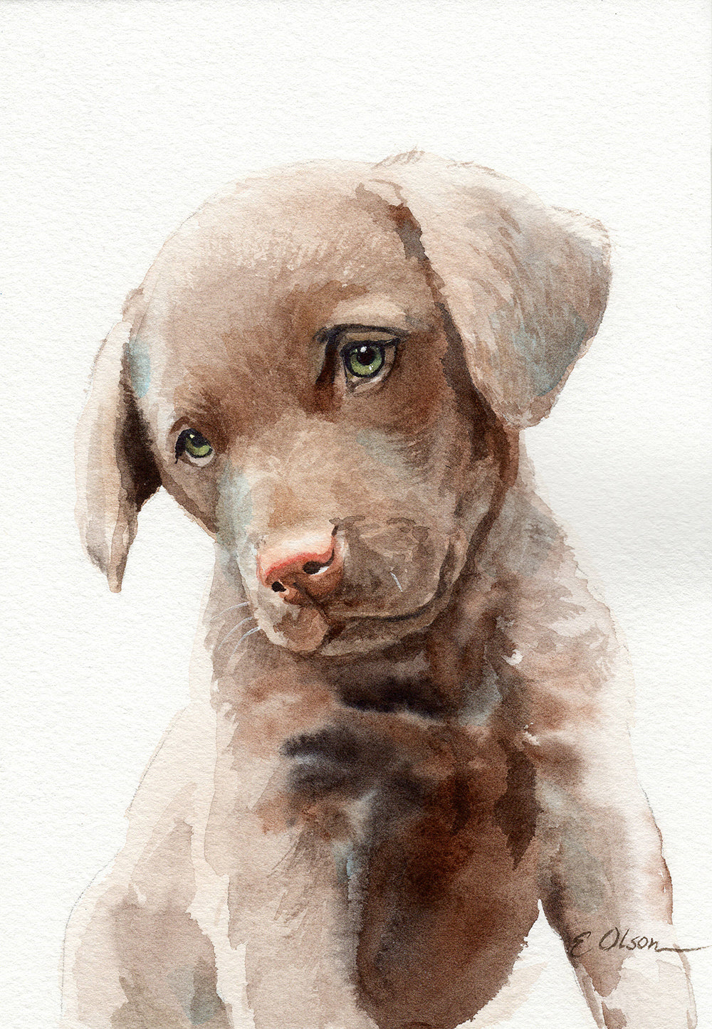 Chesapeake Bay Retriever Puppy Original Watercolor Painting