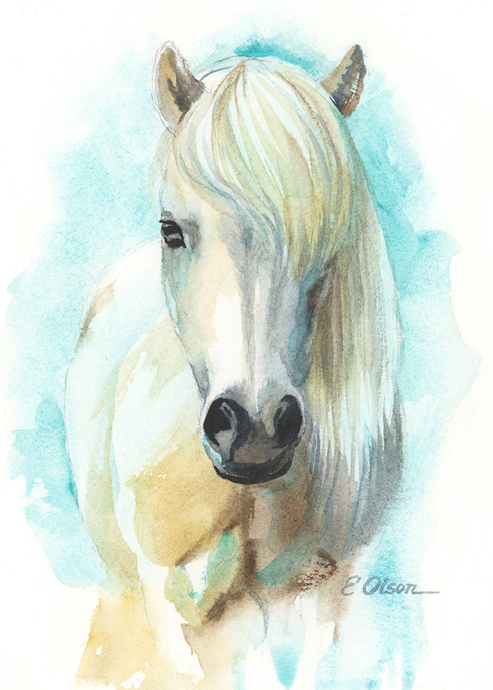 White Horse Original Watercolor Painting