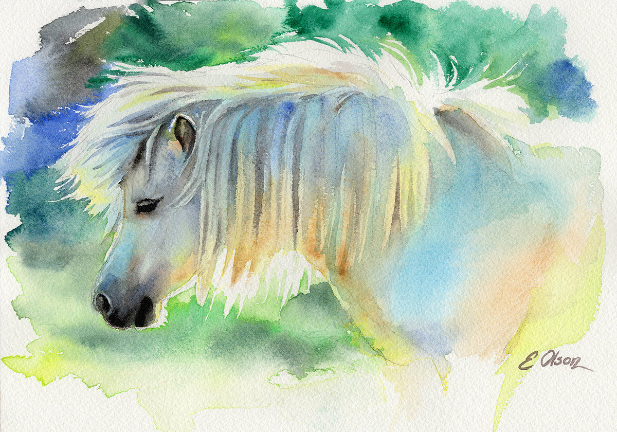 Cloud the Miniature Horse Original Watercolor Painting
